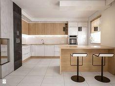 PROJEKTY KUCHNI - Duża otwarta kuchnia w kształcie litery g w aneksie, styl nowoczesny - zdjęcie od iz.mac