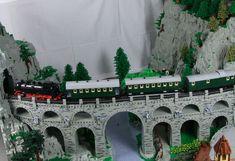 Lego Arc bridge with steam train