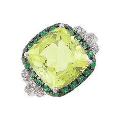 Green Amethyst, Tsavorite & Diamond Ring in 14k White Gold (8.30 ctw) amethyst rings