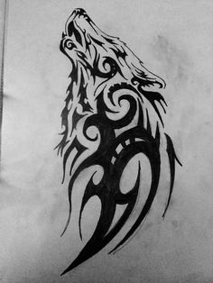 Wonderful tribal wolf looking up tattoo stencil - salvabrani Wolf Tattoos, Tribal Wolf Tattoo, Wolf Tattoo Sleeve, Celtic Tattoos, Viking Tattoos, Animal Tattoos, Sleeve Tattoos, Tatoos, Chest Tattoo