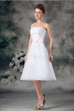 A-line Strapless Backless Pleat Bow Belt Knee-length Satin Organza Wedding Dress