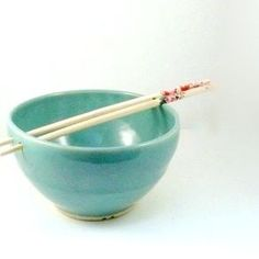 Rice Bowl Noodle Bowl In Turquoise Aquamarine With Chopsticks by Deb Babcock