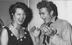 James Dean sharing a joke with Sara Montiel, The world needs more photos of James Dean in mid-laugh. Mae West, Divas, Marlon Brando, Classic Hollywood, Old Hollywood, Hollywood Stars, Sara Montiel, James Dean Photos, I Love Cinema
