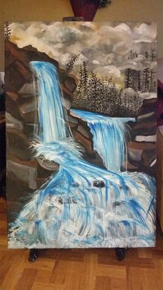 Waterfall 24 x 36 thick canvass painted sides *sold* Paintings For Sale, Waterfall, Art, Waterfalls, Kunst, Art Education, Artworks