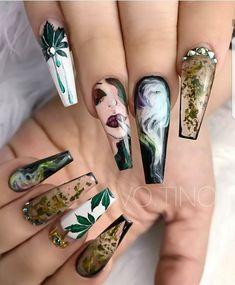 Cute Acrylic Nails, Acrylic Nail Designs, Nail Art Designs, Nails Design, Crazy Nail Designs, Gorgeous Nails, Pretty Nails, Perfect Nails, Weed Nails