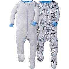 2-Pack Boys Monkey Snug Fit Footed Pajamas. Gerber Childrenswear 378a63899