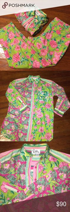 Vintage Lilly Pulitzer Pants suit RARE Excellent condition Vintage Lilly Pulitzer Shirt and Pants outfit, this looks like is just came from the store! Pristine Condition amazing Floral patterns that Lilly was famous for Lilly Pulitzer Tops Blouses