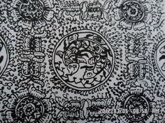 152. Classical batik motif fauna in their environments: Ceplok Grameh. Grameh=the name of a fish. This ornament portrays the frontal view of a flower in addition to the fish.