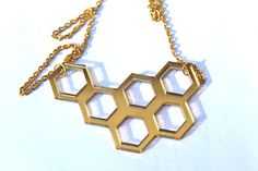ultra chic #geometric #laser cut in #gold plating and mirrored #Necklace #handmade by TaraMacJewellery on #Etsy