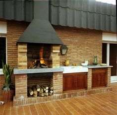 Relaxing Outdoor Kitchen Ideas for Happy Cooking & Lively Party Outdoor living space with kitchen and fireplace