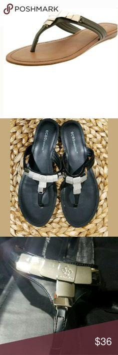 BCBGeneration Keagan Thong FlipFlop Sandals BCBGeneration Keagan Thong FlipFlop Sandals Black Silver 8.5  Excellent used condition.   AB BCBGeneration Shoes Sandals