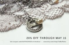 Everything is 20% off with coupon code BUFFALOVE20... through May 15!  Buffalo transit token necklace with pearl for all the bridesmaids!
