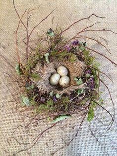 Bird Nest Project - DIY using vine, burlap, moss, and plastic bird eggs - by Gatherings at Muncy Creek Barn Works