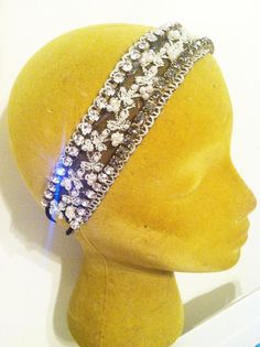 Antique Lace and Vintage Crystal Bridal Headband.