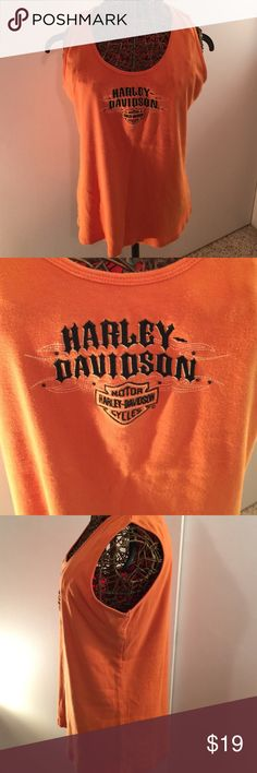Harley Davidson brand orange tank Orange Harley Davidson brand tank from Smokey Mountain Harley in Pigeon Forge, TN  good shape and still a nice orange color. Says 1x but, runs small more like an xl. Harley-Davidson Tops Tank Tops