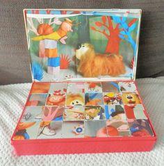 VINTAGE ! Boite de cubes Le manège enchanté, (Pollux) ORTF Made in France Il y a 5 feuilles images pour reconstituer le puzzle + 1 qui est sur le couvercle les feuilles sont un peu abîmées, (cornée et légèrement déchirées sur le tour) Les cubes sont remplis...