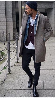 New Moda Hombre Hipster Menswear Outfit 32 Ideas Men's Style Layering, Fashion Mode, Mens Fashion, Mode Outfits, Fashion Outfits, Fashion Hair, Fashion Rings, Man Street Style, Stylish Men