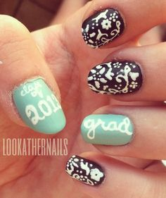 Graduation day Class of 2013 nail art by LookAtHerNails