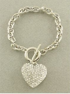 This beautiful Crystal Heart Toggle Bracelet is a must have add to your jewelry collection.