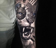 Wild lion tattoo by Chris Showstoppr