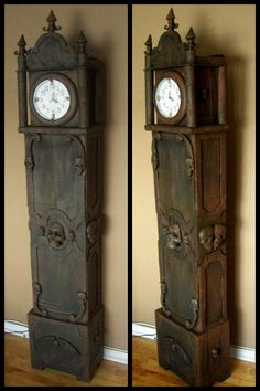 DIY Dollar Store and Cardboard Boxes Halloween Grandfather Clock from Halloweenforum here.