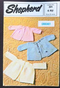 Baby Matinee Jackets Crochet Shepherd 301 vintage pattern 4 ply yarn #Shepherd