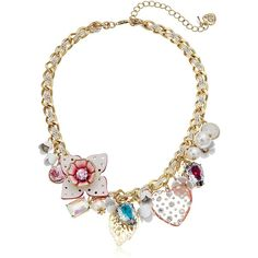 "Betsey Johnson Leather Flower Multi-Charm Necklace, 15"" 4"" Extender (3,705 PHP) ❤ liked on Polyvore featuring jewelry, necklaces, multiple charm necklace, betsey johnson jewellery, blossom necklace, betsey johnson and flower necklace"