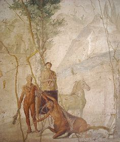 """Hercules and Centaur Nessus"""" - from House of Jason at Pompeii - Naples Archaeological Museum"""
