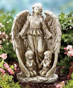 Graceful MEMORIAL ANGEL HOLDING BABY GARDEN STATUE Figurine