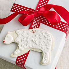 These ornaments are actually made out of clay. Your presents will look fabulous with these fun toppers: http://www.bhg.com/christmas/ornaments/easy-christmas-ornaments/?socsrc=bhgpin121413christmascookieornamentspage=3