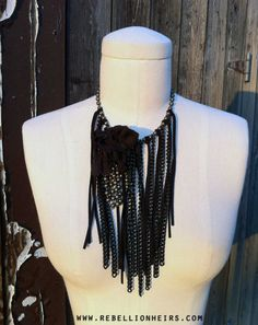 FREE SHIPPING   Acid Rain Sunday - A Multimedia Cascade Fringe Necklace -- Made To Order... by rebellionheir((s)). $75.00, via Etsy.