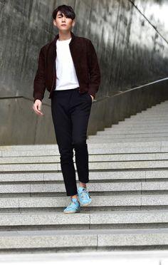 Street style: Kim Ki Beom at Seoul Fashion Week Spring 2015 shot by Baek Seung Won