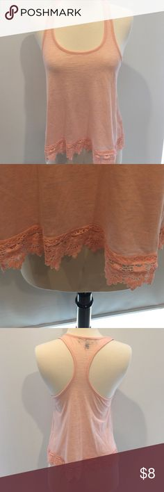 Sweet peach tank! Perfect condition peach cross back tank with crochet detail at bottom! Tops Tank Tops
