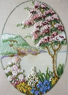 landscape done in embroidery