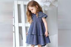 Blue linen girl's dress-Summer linen dress-Organic by HipMomMade Girls Spring Dresses, Girls Blue Dress, Baby Girl Dresses, Baby Dress, Cute Dresses, Dress Summer, Toddler Girl Outfits, Toddler Dress, Kids Outfits