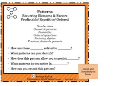 Envision Gifted. Depth and Complexity in Math Patterns
