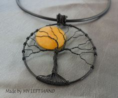 Jade Tree of Life pendant Full Moon Pendant by MadeByMyLeftHand