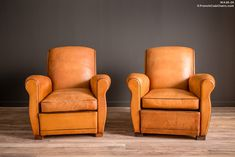 French Club Chairs by William's Antiks | WA26-29 Samur Slope Pair of Leather French Club Chairs | 1
