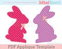 Applique Template Bunny Silhouette Applique Pattern PDF Instant Download