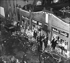 The aftermath of the fire at Boston's Cocoanut Grove nightclub that killed 492 people on Nov. Coconut Grove Fire, Boston Architecture, Fire Image, Hometown Heroes, Fire Prevention, Today In History, Interesting History, Historical Society, Our Lady