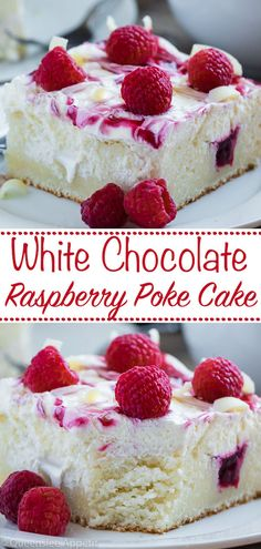 White Chocolate Raspberry Poke Cake ~ Recipe | Queenslee Appétit