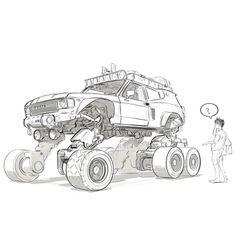 Concept art by walter kim on ArtStation. Character Concept, Character Art, Cool Car Drawings, Car Illustration, Cyberpunk Art, Futuristic Cars, Car Sketch, Environment Concept Art, Robot Art