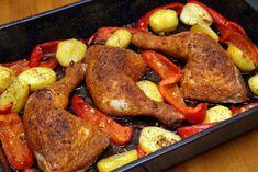 Tepsis csirkecomb krumplival Recept képpel - Mindmegette.hu - Receptek My Recipes, Poultry, Sausage, Food And Drink, Turkey, Lunch, Meat, Chicken, Peru