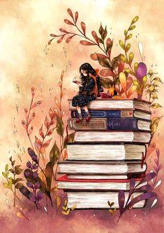 Livros não mudam o mundo, quem muda o mundo são as pessoas. Os livros só mudam as pessoas. Mário Quintana Art Anime Fille, Anime Art Girl, Art And Illustration, Art Mignon, Book Wallpaper, Reading Wallpaper, Wallpaper Lockscreen, Reading Art, Reading Books