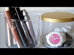 GREAT IDEA!  Clean out your Bath and Body Works candle jars and use them for makeup/jewelry storage.