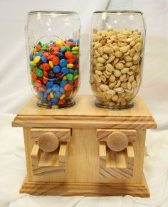 Hand-made DOUBLE Wooden Candy Dispenser - M Peanut Skittles Snack - Wood Candy Dispenser Like my gumball machine