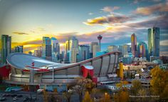 Calgary Saddledome and Skyline, Alberta, Canada. Calgary, Alberta Canada, Places To Travel, Places To See, Beautiful World, Beautiful Places, Vancouver, Canada Eh, Belle Villa