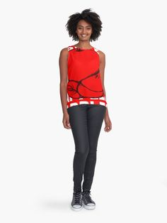 """""""Red Apple Fruit Food on Red Background Design Drawing Illustration"""" Contrast Tank by Maricrism 