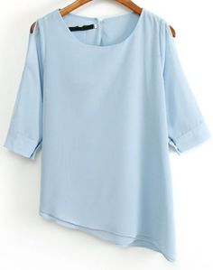 Blue Off the Shoulder Asymmetrical Chiffon Blouse - Sheinside.com