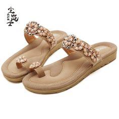 827b9eb1416ef Women Flip Flops Shoes Summer Fashion Beach Style Sandals Flowers Bohemia  2017 Flats Comfort Shoes Korean